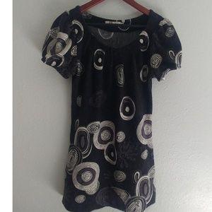 Aryeh Gray White Circle Dress Tunic Size S